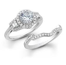 rings bridal natalie k 18k white gold three halo baguette diamond