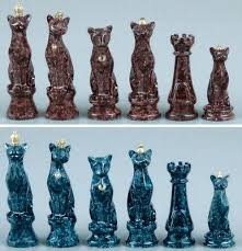 Ceramic Chess Set Unique Chess Pieces Cat Themed Chess Pieces Unusual Chess