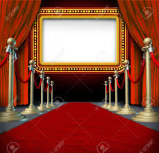 Velvet Curtains Movie And Theatre Marquee Blank Sign With Elegant Velvet Curtains