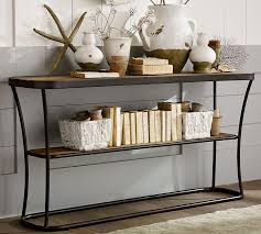 wood and iron sofa table bartlett reclaimed wood console table pottery barn