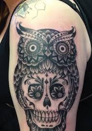 sugar skull and owl tattoo designs creativefan