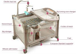 Folding Baby Bed Baby Playpen With Luxury Mosquito Net Single Cot