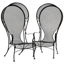 Wrought Iron Mesh Patio Furniture by Pair Of Woodard Mid Century Hollywood Regency Wrought Iron And