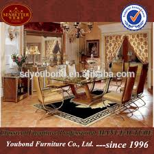 0016 high end solid wood italian dining table gold furniture glass