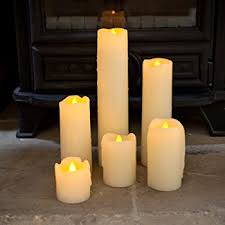 set of 6 real wax battery operated led candles by