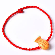 red string bracelet with charm images Women 39 s lovely luck chinese red string bracelets fish leaf purse jpg