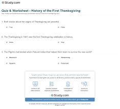facts on thanksgiving history quiz u0026 worksheet history of the first thanksgiving study com