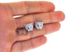 diamond stud earrings for women womens diamond panther cat stud earrings 18k white gold 1 10 ct