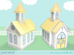 make a paper church printable kit favor box and table