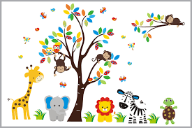 nursery wall decals kids room stickers brightly colored tree and nursery wall decals kids room stickers brightly colored tree and jungle animal decal item750 baby
