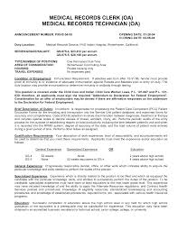 Sample Resume For Medical Technologist by Sample Resume For Medical Records Clerk Free Resume Example And