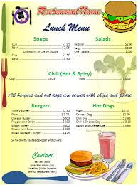 lunch menu template free brilliant dinner and lunch menu template word v m d