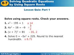 31 solve using square roots