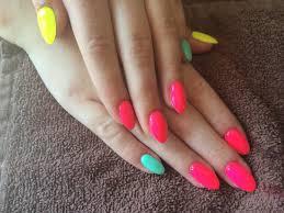 bright neon summer nails almond shape my work pinterest