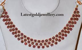 gold necklace ruby images Floral ruby necklace latest gold jewellery designs jpg