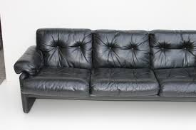 coronado black leather sofa by tobia scarpa for b u0026b italia 1970s