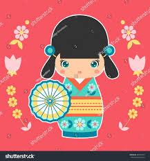 vector illustration japanese kokeshi doll umbrella stock vector