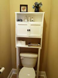small bathroom storage over toilet grey marble floor brown fibre