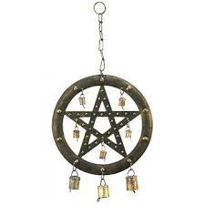 pentagram brass wind chime with bells for protection wicca magic