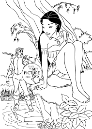 pocahontas fall in love coloring pages for kids printable free