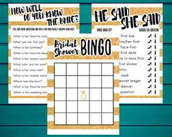 Dinner Party Question Games - view bridal shower games by fortudesigns on etsy