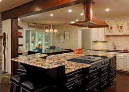 intriguing granite top kitchen island design presenting birch wood