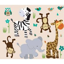 jungle decals with zebra wall stickers for boys bedrooms