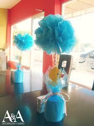 baby shower sash ideas centro de mesa con pompones de papel temática patitos baby