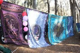 Psychedelic Room Decor Jewels Blue Sheets Pretty Hippie Camping Beautiful