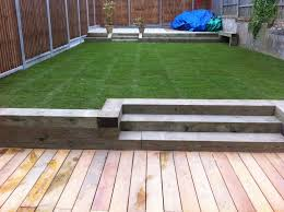 composite decking with sleeper borders google search landscape
