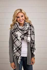 online women s boutique black and white plaid blanket scarf online women s fashion