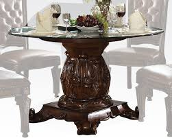 Round Glass Kitchen Table Dining Set W Round Glass Table Vendome Cherry By Acme Ac62010set