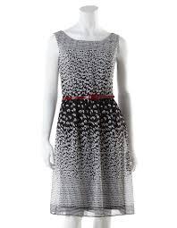 chiffon a line dress with red belt cleo