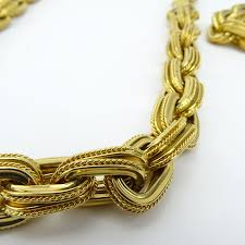 large gold link necklace images Heavy italian 18 karat yellow gold large link necklace and jpg