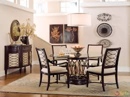Transitional Dining Room Furniture Transitional Round Glass Top Table Chairs Dining Furniture Set
