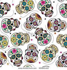 beautiful sugar skulls seamless pattern stock vector 689661493