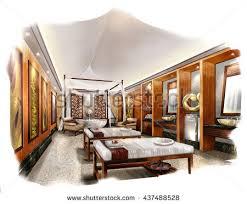 Bedroom Interior Design Sketches Luxurious Open Floor Cabin Interior Bedroom Stock Illustration