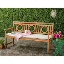 Outside Benches Home Depot by Safavieh Montclair Outdoor 3 Seat Acacia Patio Bench With Beige