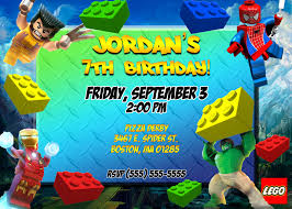 Printable Party Invitation Cards Party Invitations Lego Superheroes