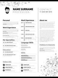 Resume Simple Design Minimalist Cv Resume Template With Simple Design Vector Stock