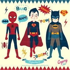 superhero clip art featuring spiderman superman batman sound