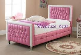 pink leather bed with mattress memory foam single bed frame ebay