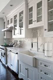 glamorous white subway tile kitchen backsplash image of dining