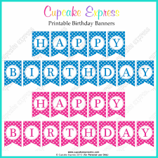 banners pink blue printables bunting template small banner baby
