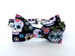 halloween ties sugar skull bow tie self tie dia de los muertos colorful day