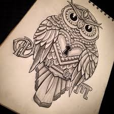 amazing owl lock with key tattoo design jpg 640 640 tattoos