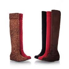 s knee boots uk s wedge heels flat shoes elastic suede fabric knee