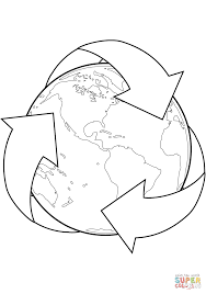recycle sign with earth coloring page free printable coloring pages