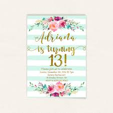 floral 13th birthday invitations mint stripes gold