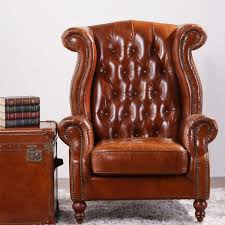 deconstructed studded high back leather wing chair buy modern